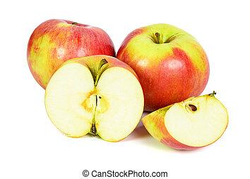 bianco, mele, fondo, rosso