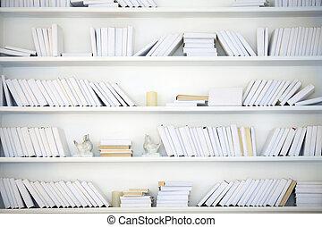 bianco, mensola, con, libri, senza, iscrizioni