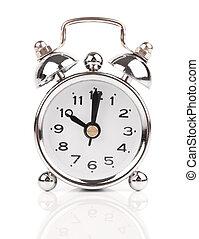 bianco, metallo, fondo, orologio