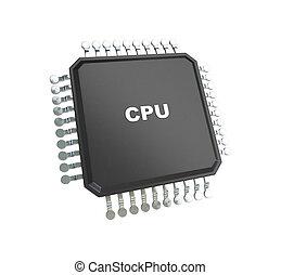 bianco, microchip, isolato, fondo