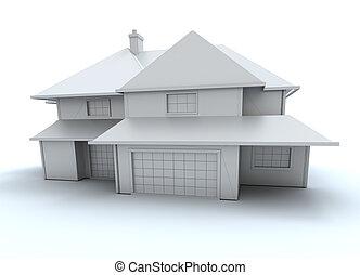 bianco, modello, casa, frontale, vista