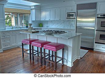 bianco, moderno, cucina, bello