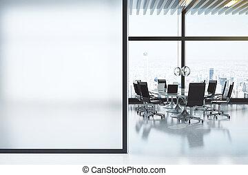 bianco, moderno, stanza riunione, copyspace