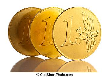 bianco, moneta, fondo, euro