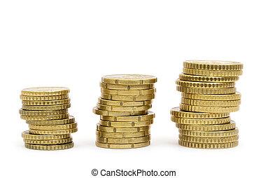bianco, monete, fondo, isolato, oro