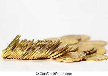 bianco, monete, fondo, oro
