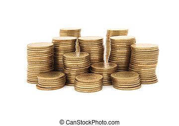 bianco, monete, oro, fondo