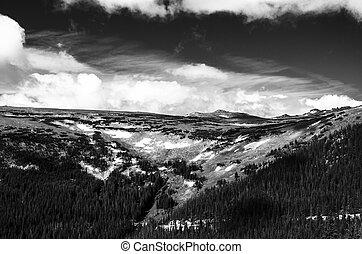 bianco, montagna, nero, paesaggio