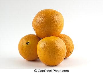 bianco, mucchio, isolato, arance