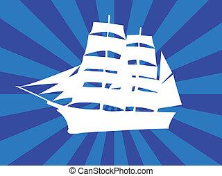 bianco, nave, con, fondo