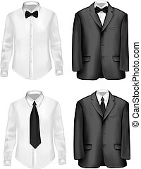 bianco, nero, camicie, completo