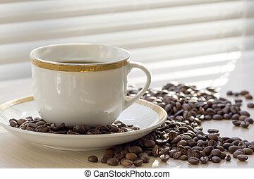 bianco, nero, coffee., tazza