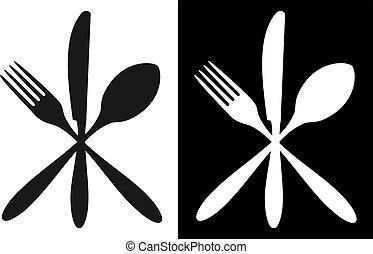 bianco, nero, coltelleria, icone