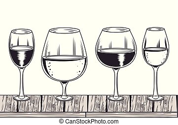 bianco, nero, disegno, vino