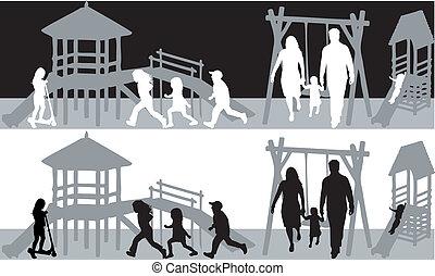 bianco, nero, family-fun, illustrazione