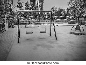 bianco, nero, inverno, campo di gioco