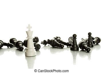bianco, nero, pezzi gioco scacchi