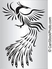 bianco, nero, phoenix, illustrazione