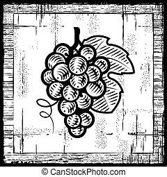 bianco, nero, retro, uva, mazzo