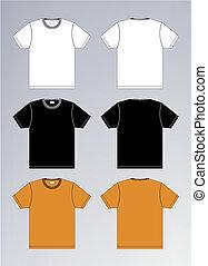 bianco, nero, t-shirt arancione, disegno