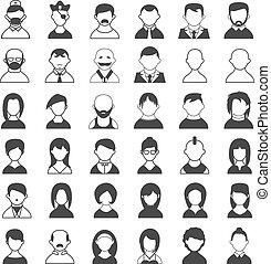 bianco, nero, utente, icone