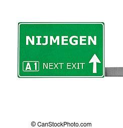 bianco, nijmegen, isolato, segno strada