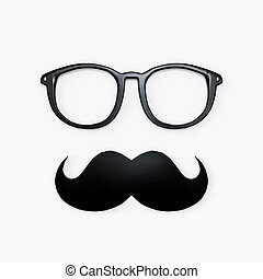 bianco, occhiali, baffi, isolato