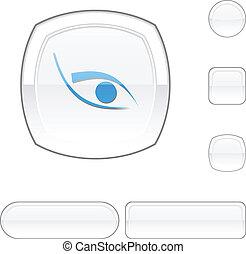 bianco, occhio, button.