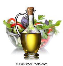 bianco, olio, isolato, insalata