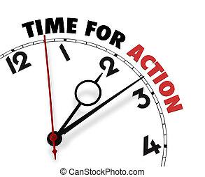 bianco, orologio, con, parole, tempo, per, azione, su,...