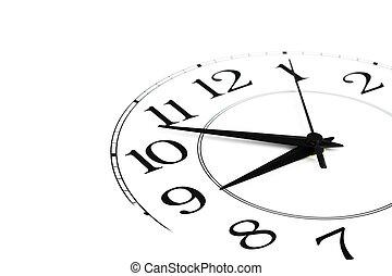 bianco, orologio, esposizione, tempo, circa, nove, isolato