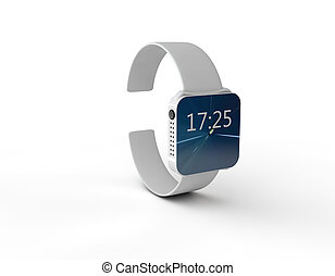 bianco, orologio, fondo, 3d