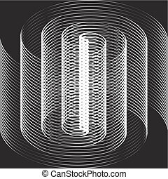 bianco, ottico, nero, spirale, illusione