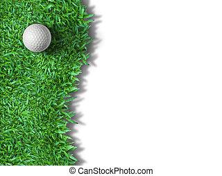 bianco, palla golf, su, erba verde, isolato