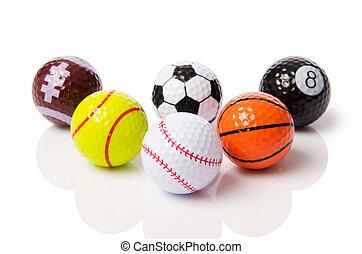 bianco, palle, isolato, collezione