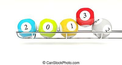 bianco, palle, lotteria, isolato, 2013
