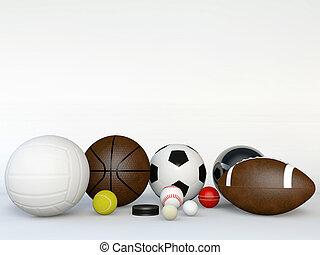 bianco, palle, sport, isolato, fondo