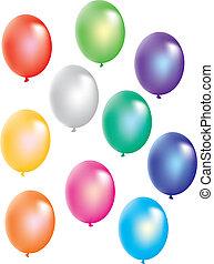 bianco, palloni, colorito, fondo