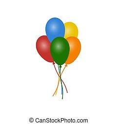 bianco, palloni, colorito, isolato, fondo., collezione