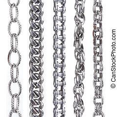 bianco, parti, metallo, collezione, catena