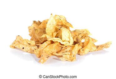 bianco, patatine fritte, isolato