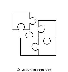 bianco, pezzo, icona, linea, fondo, quattro, puzzle