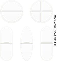 bianco, pillole, isolato