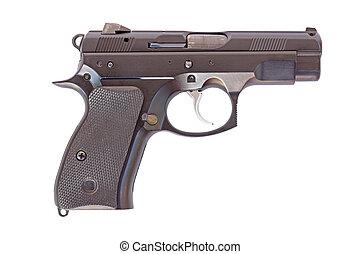 bianco, pistola nera, fondo