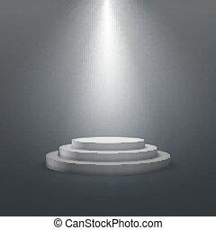 bianco, podium., palcoscenico vuoto
