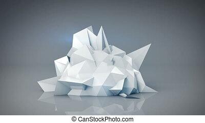 bianco, polygonal, forma., astratto, 3d, render, animazione, cappio