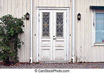 bianco, porta, decorato, ornamenti