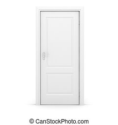 bianco, porta, fondo, 3d