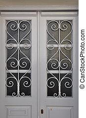 bianco, porta, metallo, modello