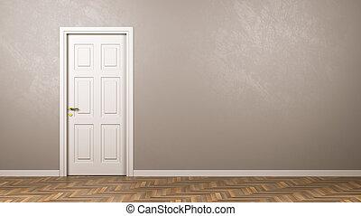 bianco, porta, stanza, copyspace, chiuso